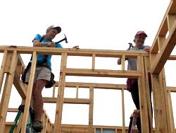 Mary on Ladder hammering