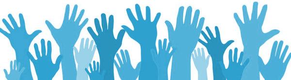 volunteer hands blue
